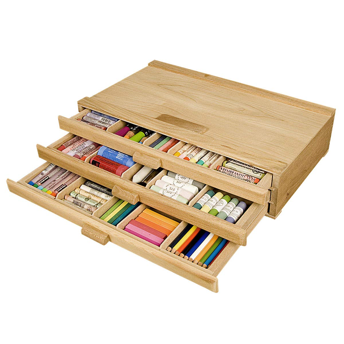 Creative Mark Pastel Storage Box, Wooden 3 Drawer, Sturdy & Stackable, Perfect for Pastels, Art Tools, Paint Brushes & Makeup Brushes -Natural Finish 9½'' D × 16'' W × 3¼'' H