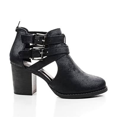 Round Toe Dual Buckle Side Cut Out Block Stacked Heel Ankle Bootie