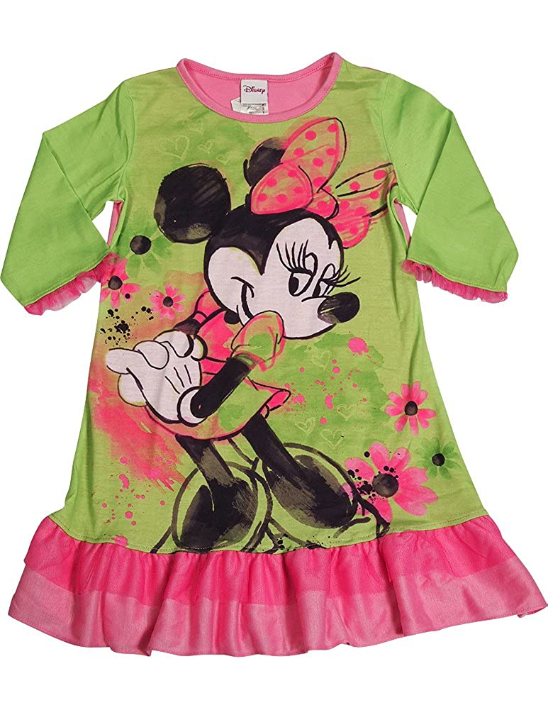 Amazon.com: Disney - Little Girls Long Sleeve Minnie Mouse Nightgown, Green, Pink 33599-Large: Clothing