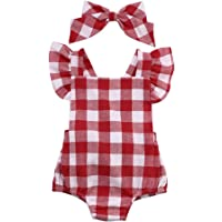 f9a641613 SHOBDW Girls Clothing Sets, Newborn Baby Girl Cotton Lattice Bowknot Clothes  Bodysuit Romper Jumpsuit Outfit