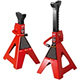 BIG RED T41202 Torin Steel Jack Stands: 12 Ton (24,000 lb) Capacity, Red, 1 Pair