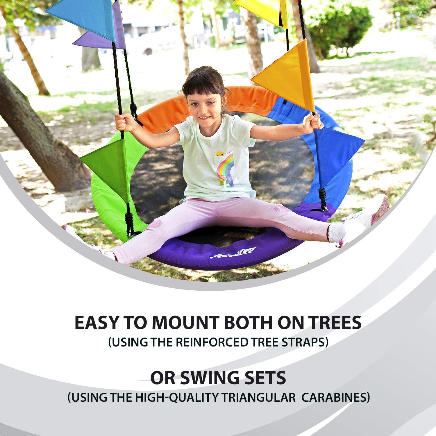 Outdoor Round Tree Swing for Kids - 40'' Saucer Tree Swing for Kids-Large Tree Swings for Children - 400 lbs Tree Swings for Outside with Hanging Kit by Hazli (Image #7)