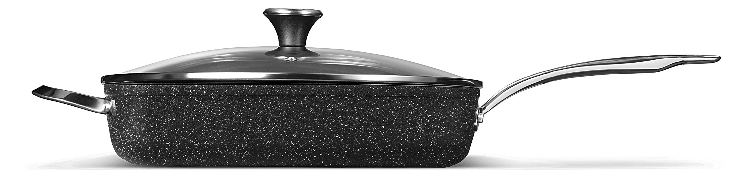 THE ROCK by Starfrit  060744-002-0000 One-Pot 5.8-Quart Deep Fry Pan with Lid and Stainless Steel Riveted Handles, Black