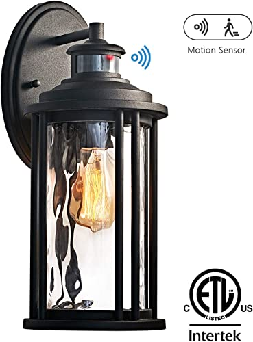 MOTINI 1-Light Outdoor Wall Sconce Lantern with Motion Sensor 60 W Bulb Included IP23 Waterproof Exterior Light Fixtures Wall Mount in Black Finish with Water Glass Shade