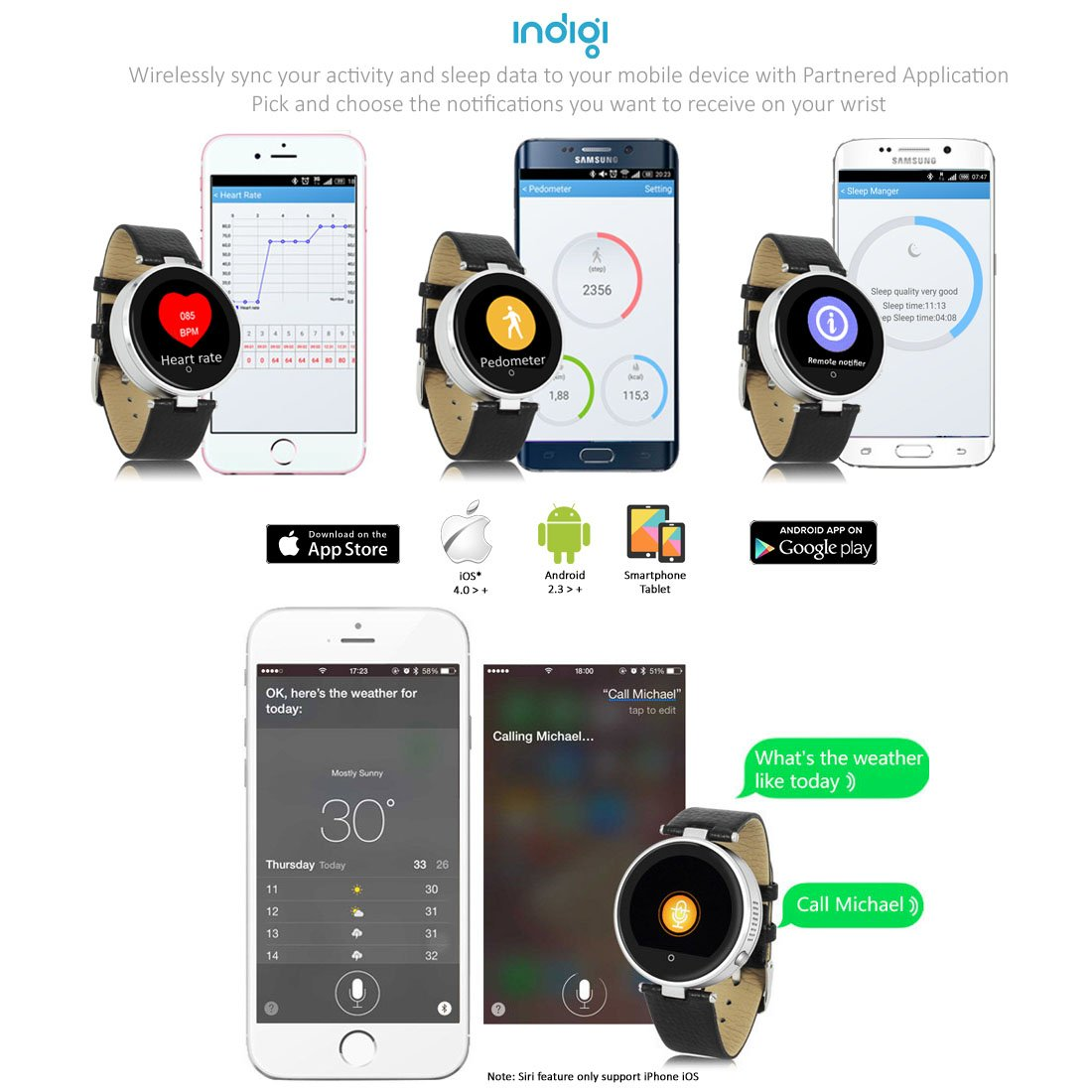 Amazon.com: Indigi Smart Bluetooth Watch Heart Rate Monitor Fitness Tracker For iPhone iOS Android: Cell Phones & Accessories
