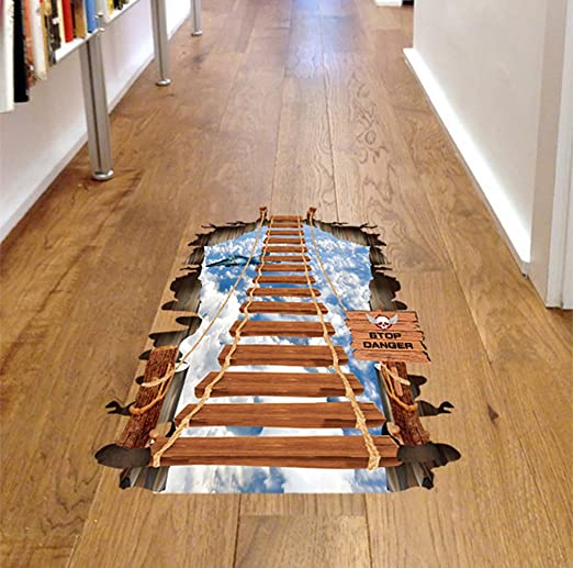 Dangling 3D Suspension Bridge Bedroom Living Room Floor Stickers Pegatinas