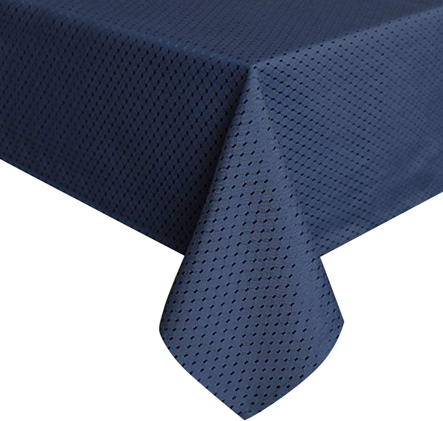 ColorBird Elegant Waffle Jacquard Tablecloth Waterproof Table Cover for Kitchen Dinning Tabletop Decor (Rectangle/Oblong, 60 x 120 Inch, Navy Blue)