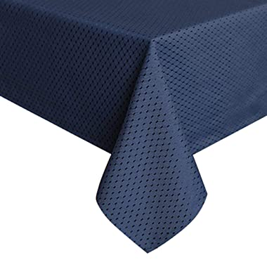 ColorBird Elegant Waffle Jacquard Tablecloth Waterproof Table Cover for Kitchen Dinning Tabletop Decor (Square, 70 x 70 Inch, Navy Blue)