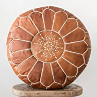 Marrakesh Style Amazing & Beautiful, Original Tan Brown poufs Moroccan Leather Pouf, Natural Leather poufs, Home Gifts…