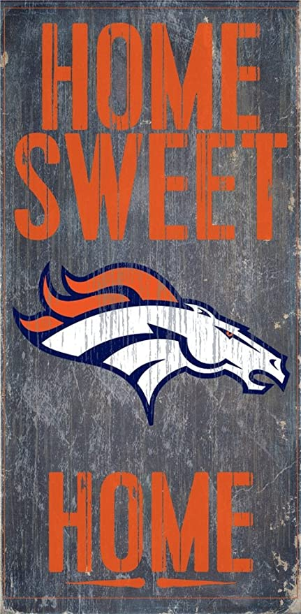 Amazon.com: Denver Broncos Letrero De Madera – Home Sweet ...