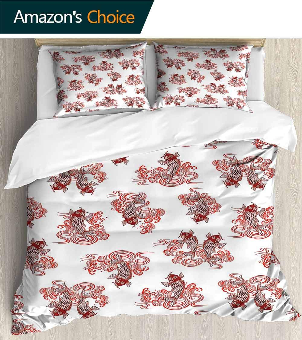 3-Piece Printed Bed Cover/Bed Cover kit/Quilt Set 79''x 90'',Size Bedspread Floral Pattern Exquisite Lightweight Shirt,Japanese Decor Collection Unique Underwater Character Koi Fish in The Lake Pattern by Paddy Benedict