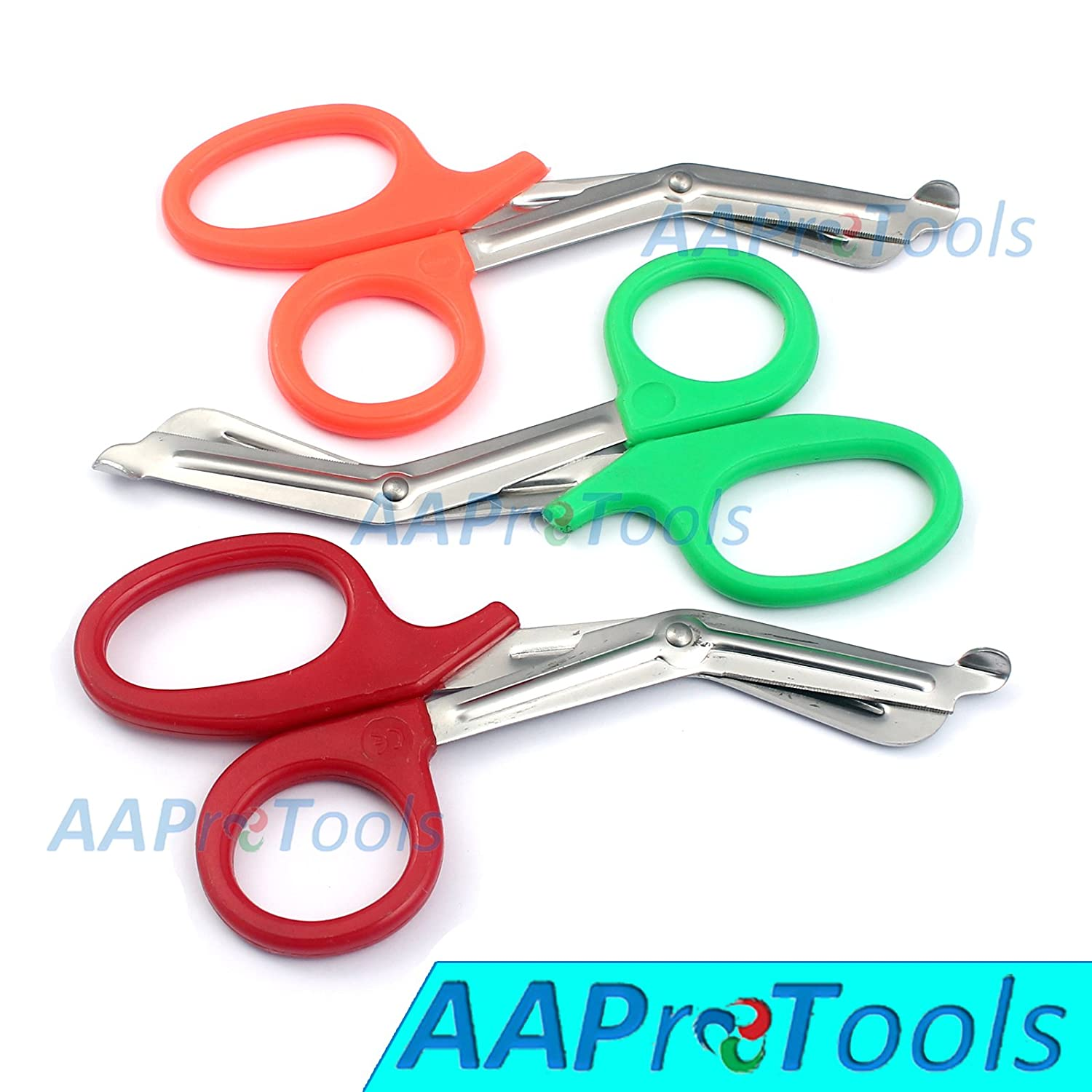 "AAPROTOOLS SET OF 3 ( ORANGE GREEN RED ) TRAUMA PARAMEDIC EMT SHEARS SCISSORS 7.5"" A+ QUALITY"