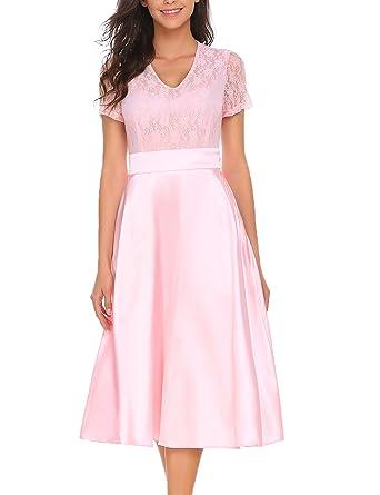 8d416a18c98988 ACEVOG Damen Elegant Retro Vintage Rockabilly Kleid Spitzenkleid Abendkleid  Cocktailkleid Partykleid A Linie Swing Kleider Festlich