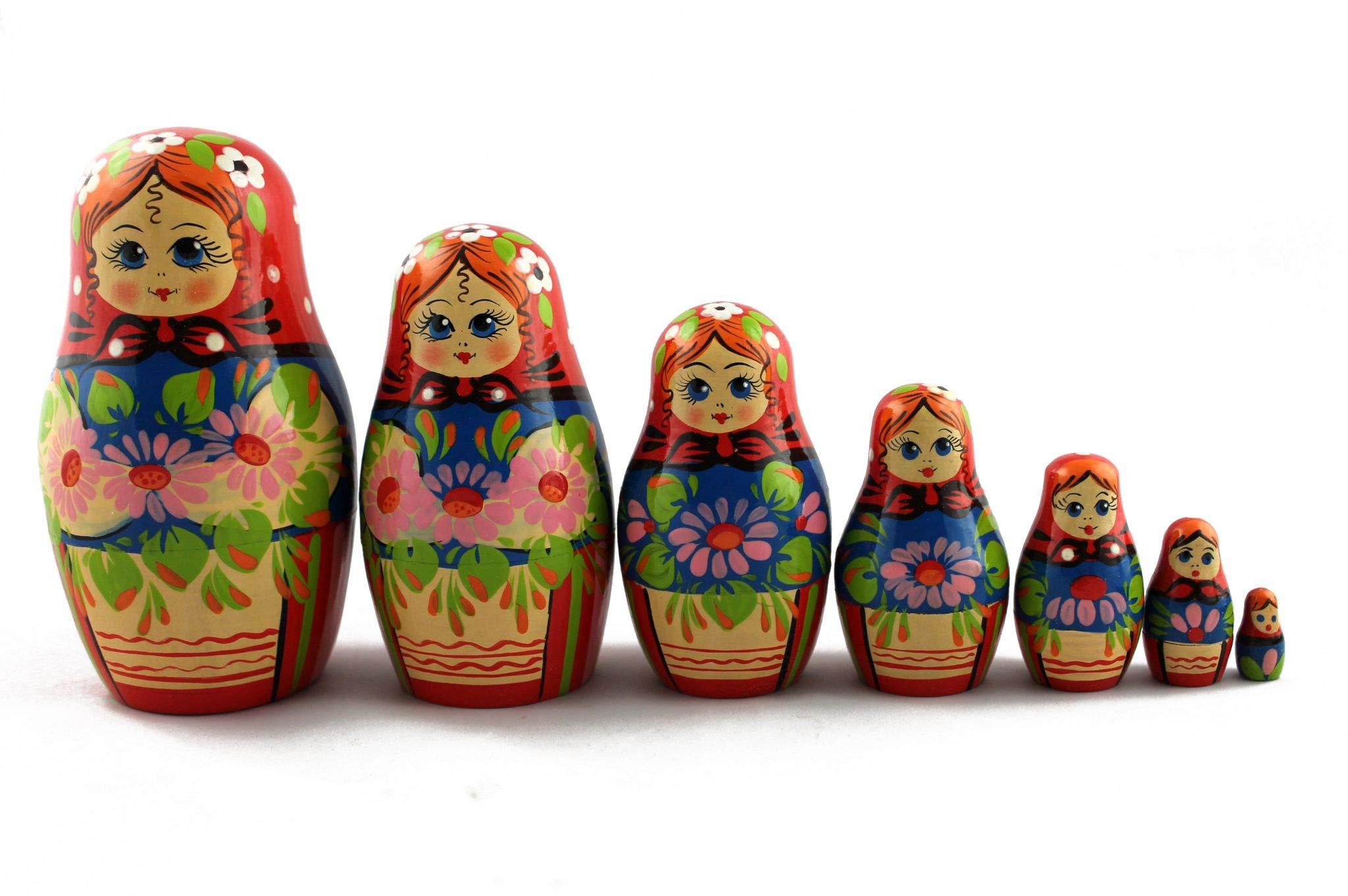 Russian Nesting Dolls - Classic Russian Ornament and Beautiful Chrysanthemum - Set 7 pcs