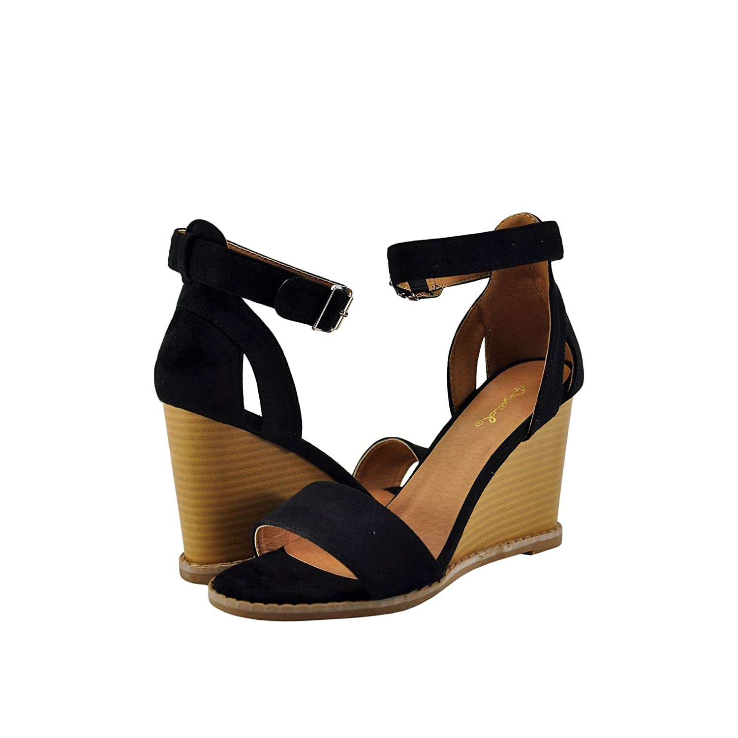 7a2785fa2bed11 ... Qupid Finley 01 Women s Open Toe Toe Toe Ankle Strap Stacked Wedge  B076VG986V 6 B(