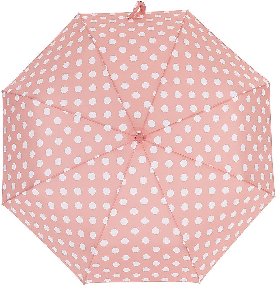 ZKDT Cute Polka Dots Tri-fold Travel Umbrella Light Weight Compact /& Portable Umbrellas for Women