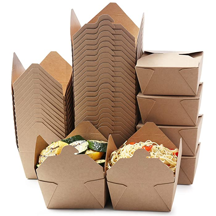 Take Out Food Containers - 50 Pack -30 Oz Disposable Kraft Take Out Boxes, Microwavable Paper Boxes for Food, Recyclable to go Dessert Boxes