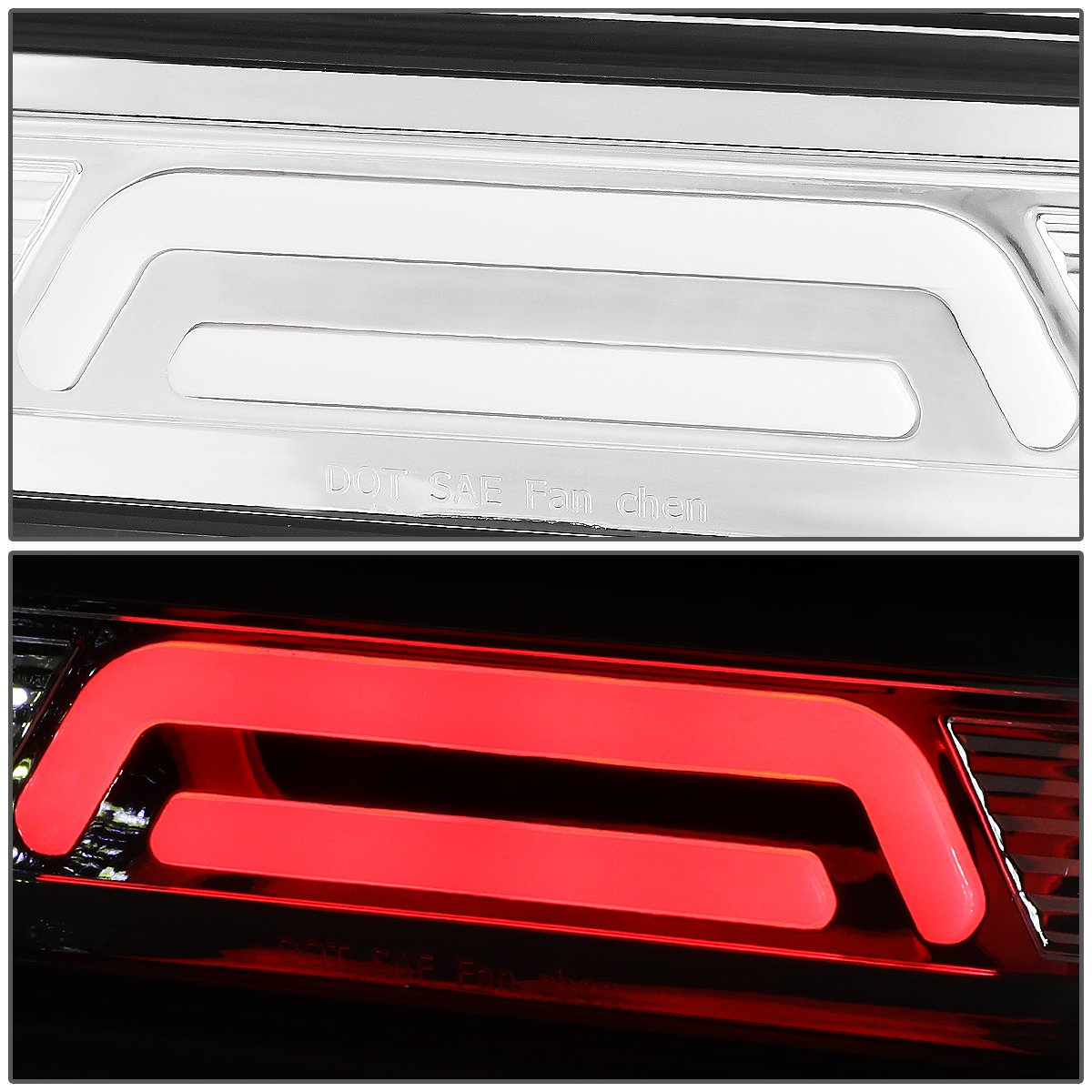 For Dodge RAM Truck All 3D LED Bar 3rd Third Tail Brake Light Rear Cargo Lamp Black Housing//Smoked Lens