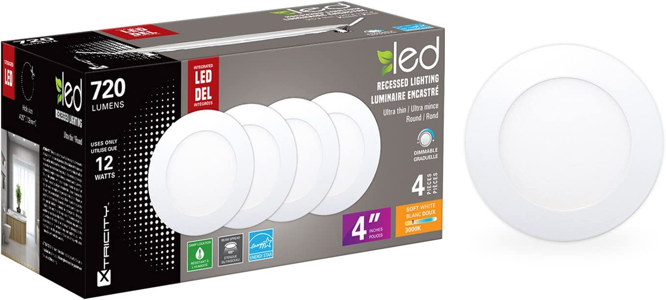 Dimmable 4 Round Surface Xtricity 60W Equivalent 3000K Soft White 12W ETL Listed, 720 Lumens Pack of 4 Energy Star Certified 4 Round Surface Ultra-Thin Recessed LED Ceiling Light with LED Driver