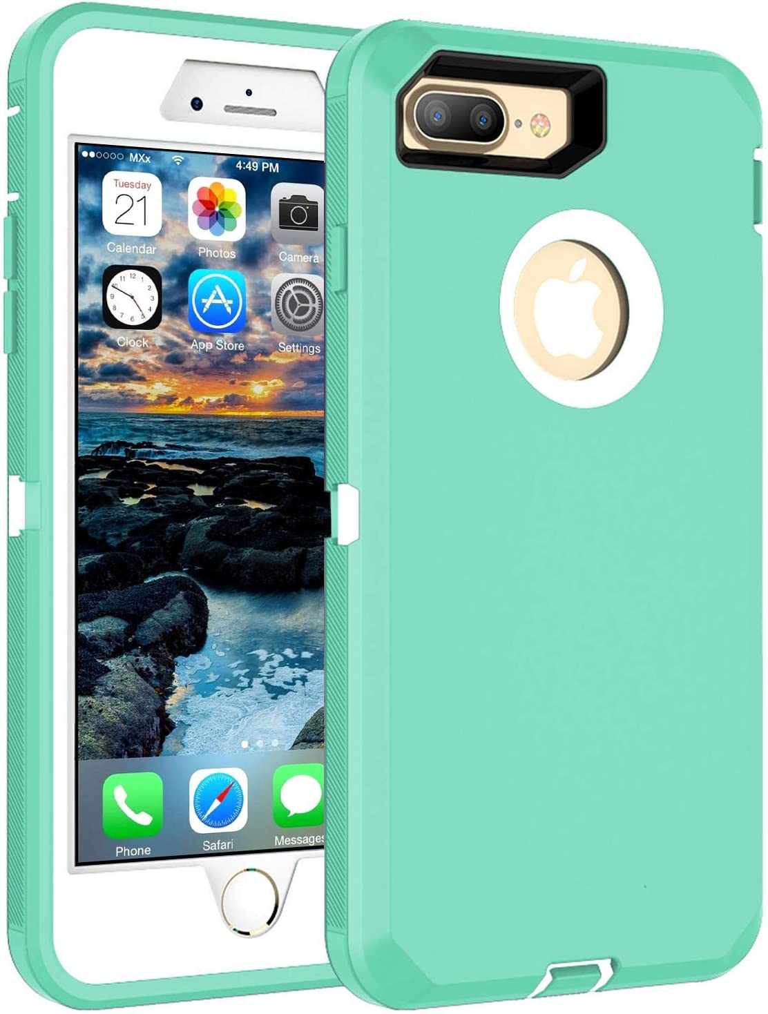 Amazon Com Mxx Heavy Duty Defense Case With Screen Protector 4 Layers Rugged Rubber Shockproof Protection Case Cover For Apple Iphone 7 Plus Iphone 8 Plus Aqua Green White