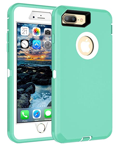 timeless design 106f2 3ef1d MXX Heavy Duty Defense Case with Screen Protector 4 Layers Rugged Rubber  Shockproof Protection Case Cover for Apple iPhone 7 Plus/ iPhone 8 Plus  Aqua ...