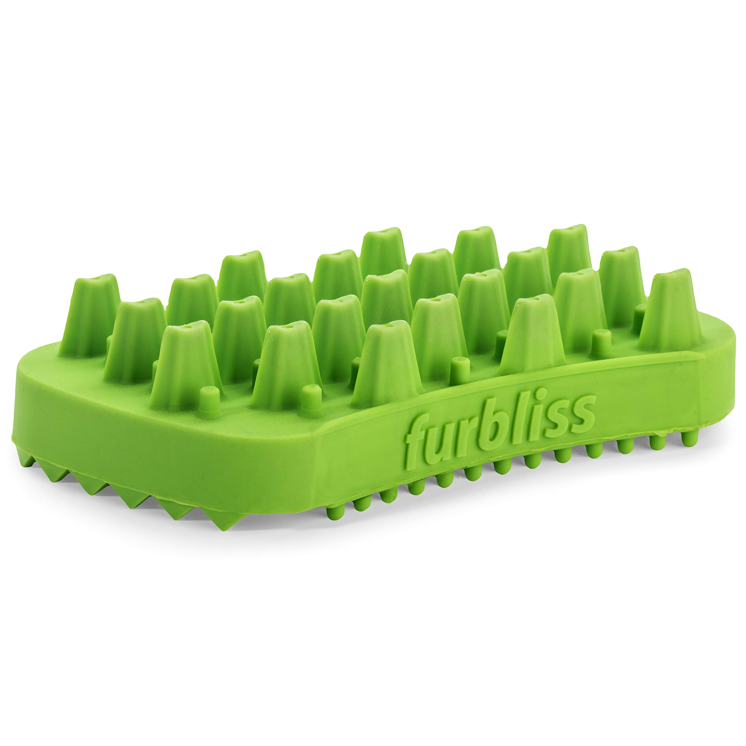 Furbliss Dog & Cat Brush for Small Pets with Long Hair, Non-Metal Grooming, Bathing Massaging and Deshedding Silicone Brush - Green