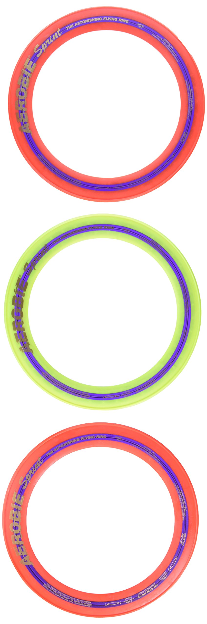 Aerobie Sprint Flying Ring, 10'' Diameter, Assorted Colors, Set of 3 by Aerobie