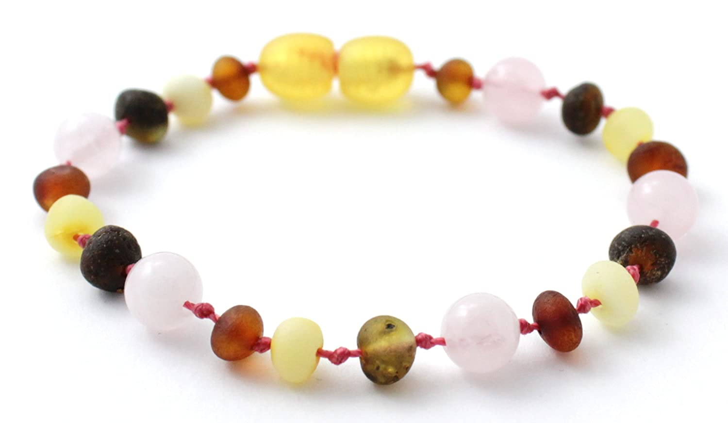 Unpolished Baltic Amber Teething Bracelet/Anklet made with Rose Quartz Beads - Size 6.3 inches (16 cm) - Raw Multicolor Amber Beads - BoutiqueAmber (6.3 inches, Raw Multi/Quartz)