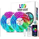 Luzes LED de 32 pés, fitas de luz LED de mudança de cor YUNSYE com sincronização de música, controle remoto, microfone integr