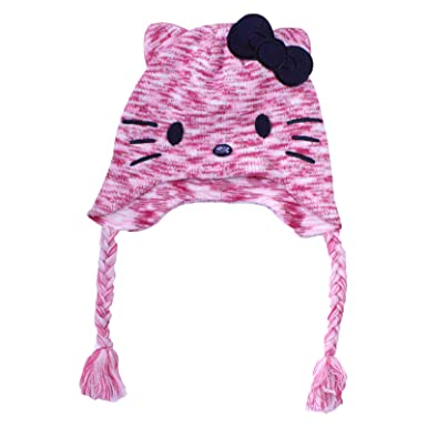 33f481187af Girls Hello Kitty Winter Beanie Hat Tassels Hello Kitty Jewel Eyes Nose Design  Age 8-12 Years  Amazon.co.uk  Clothing