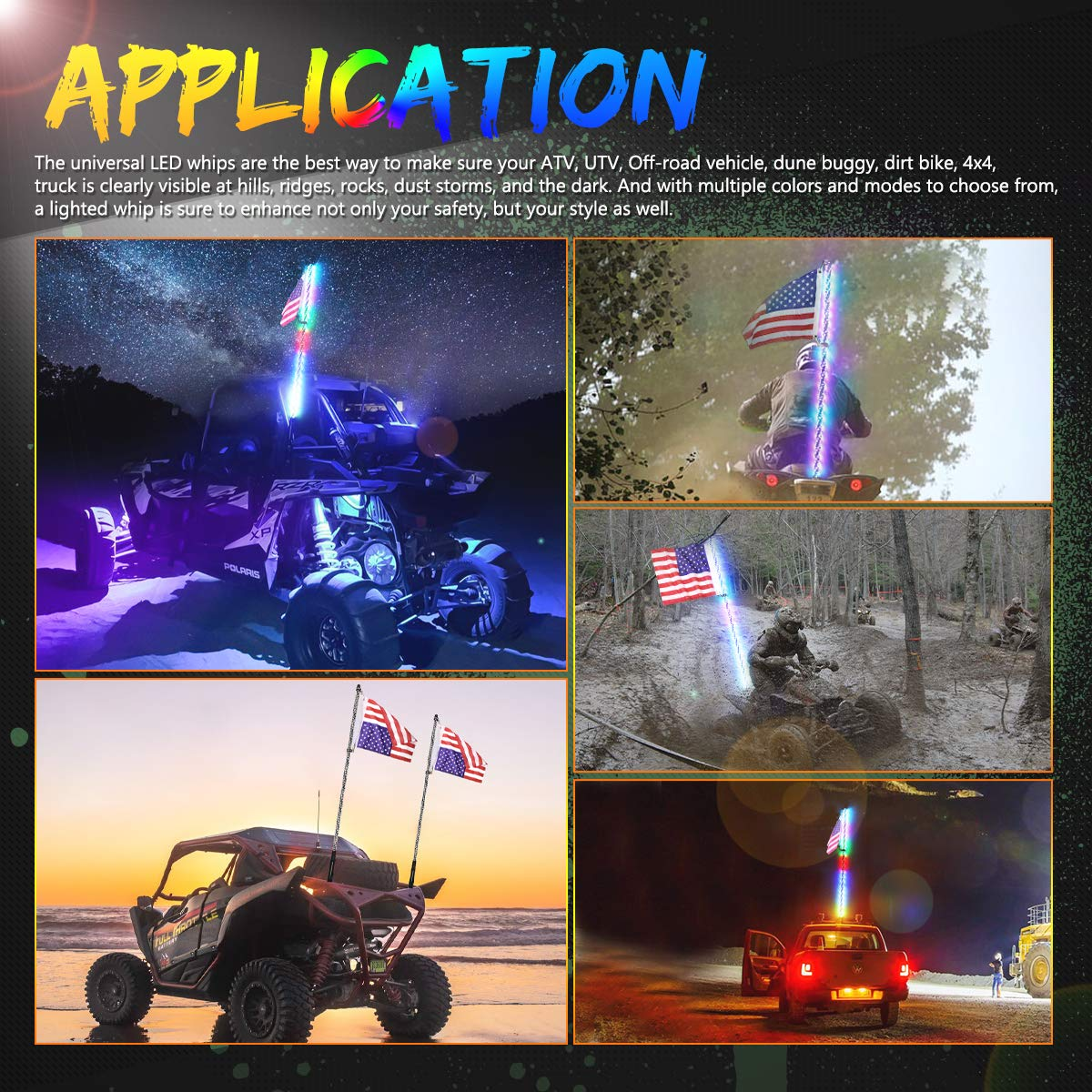 SWATOW INDUSTRIES Lighted Antenna Whip Spiral RGB LED Whip with Remote Control Off Road Chase Light LED Light Whip for UTV ATV RZR Truck Jeep 4 Wheeler Dune Buggy Boat 4ft LED Whip Light with Flag