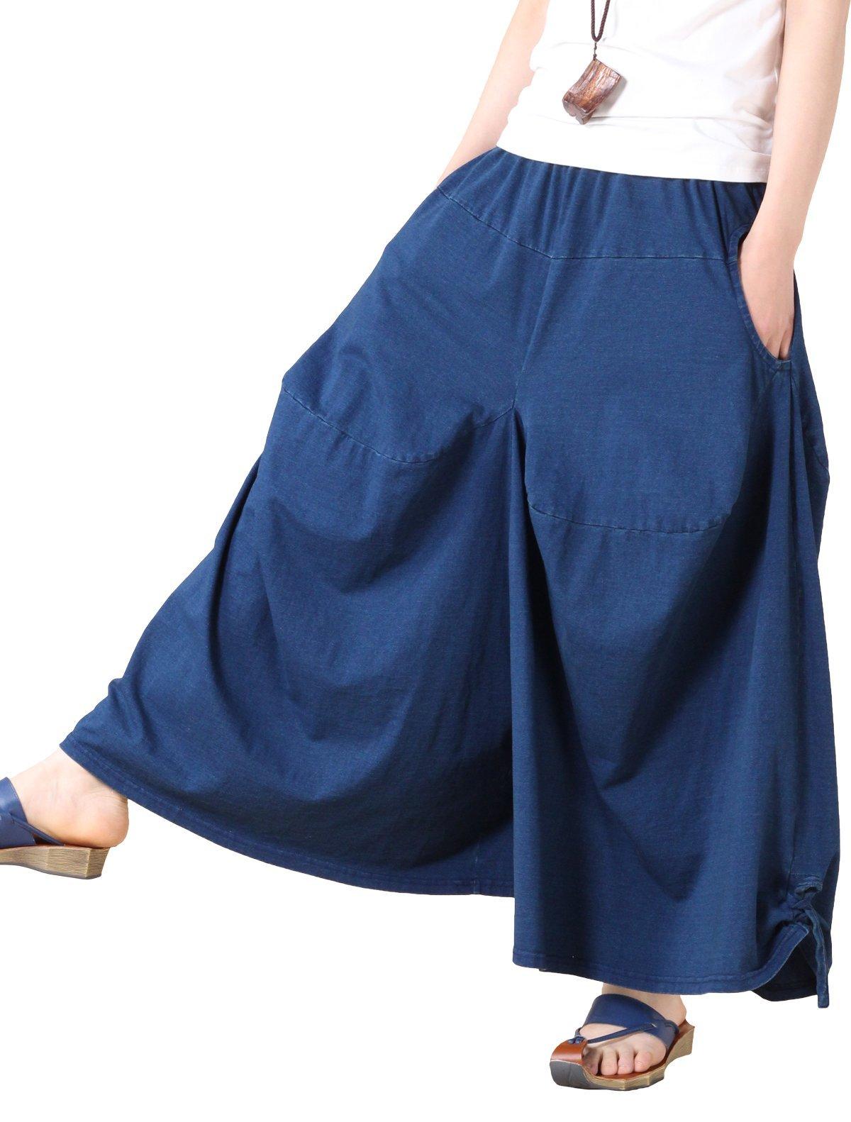 Mordenmiss Women's New Casual Wide Leg Pants Side Pockets Denim Haren Pants (L, Style 9-Blue)
