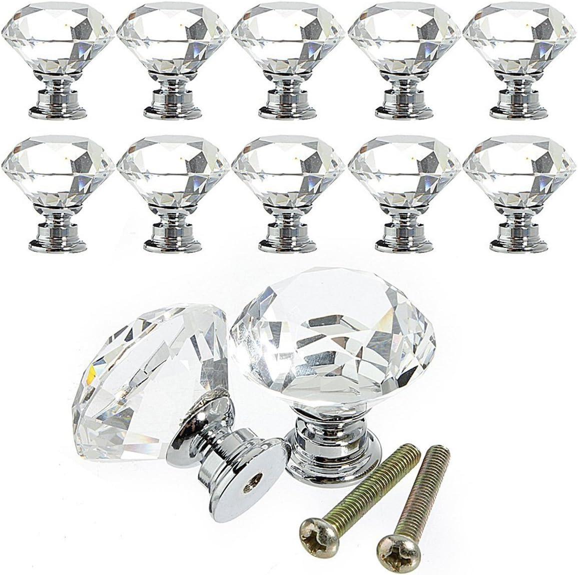 10PCS Diamond Crystal Glass Door Drawer Cabinet Wardrobe Pull Handle Knob 30mm