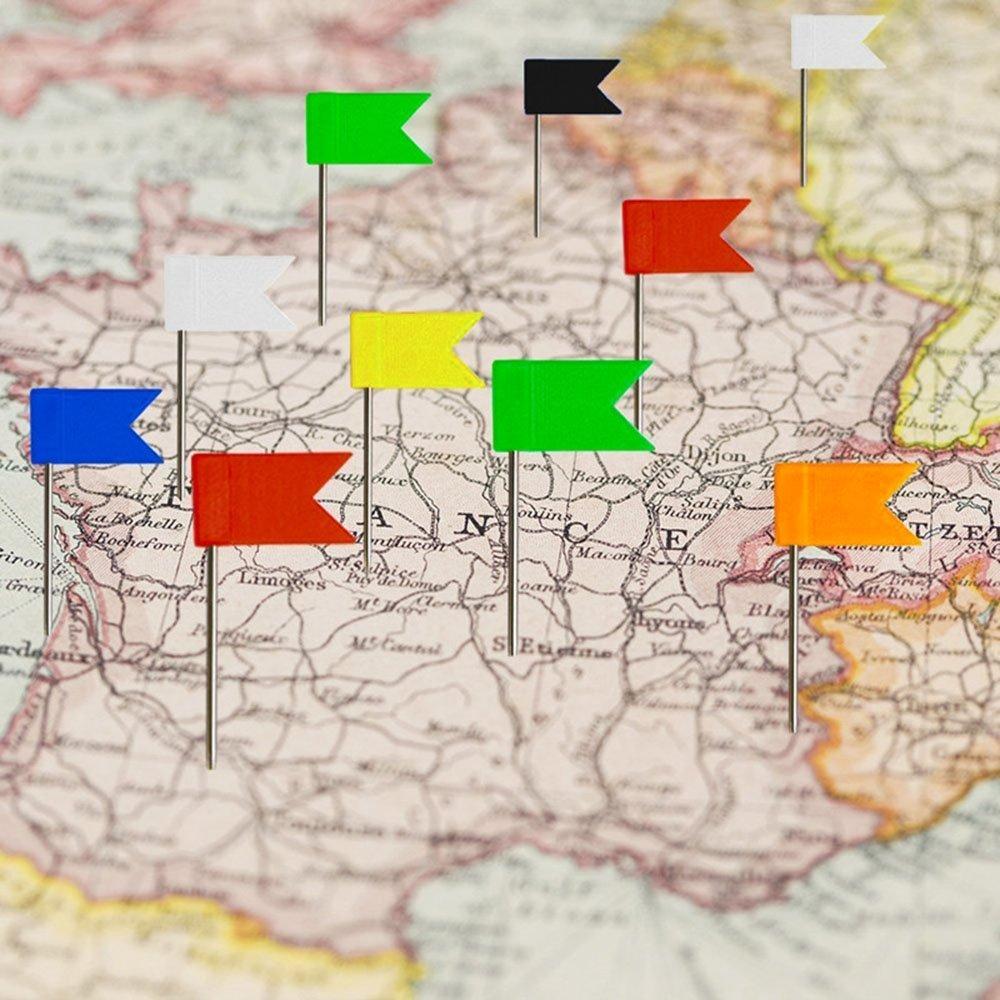 7 colori assortiti FiYenn 200 puntine da bacheca a forma di bandiera