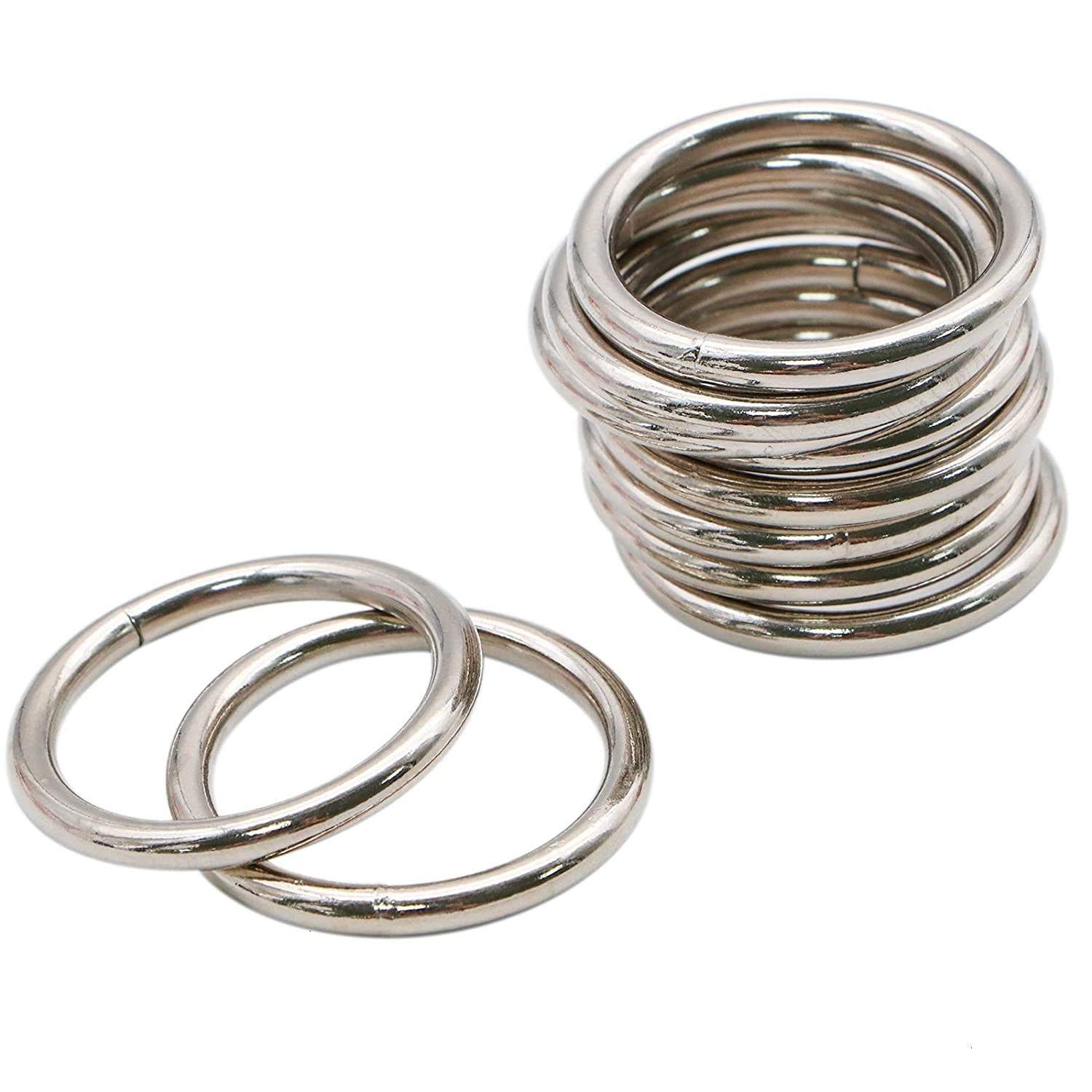 WSSROGY 10-Pack 2' Welded O-Ring Nickel Plate Steel Rings Multi-Purpose Metal O Ring for Macrame, Camping Belt, Dog Leashes, Light Saber Accessories, Luggage Belt, Handbag and More Craft Project