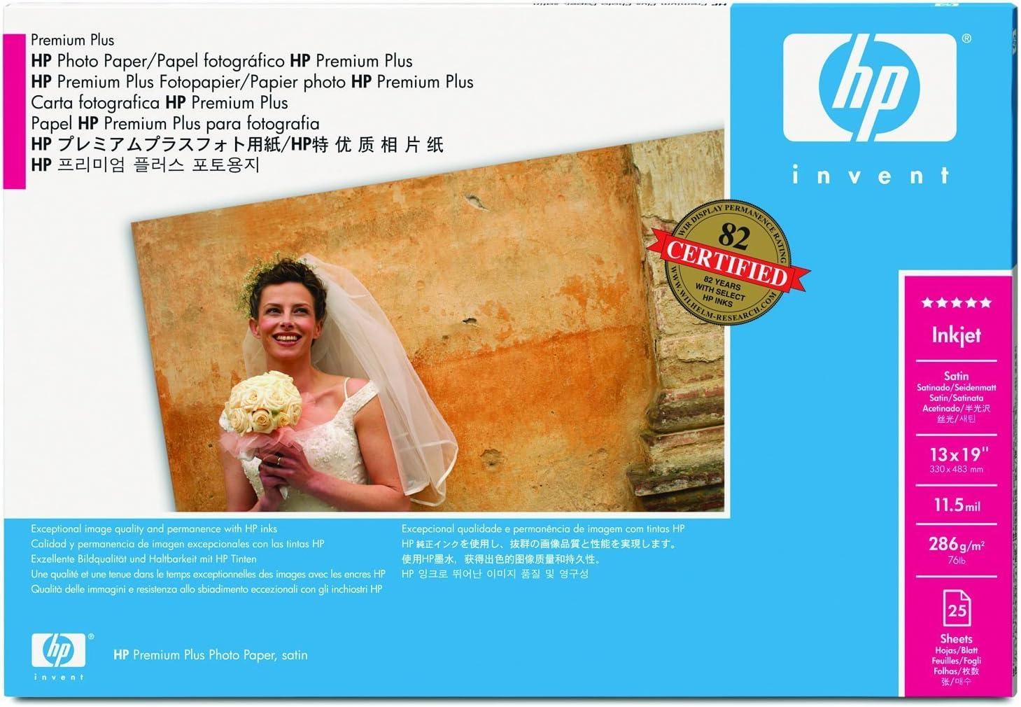 Hewlett Packard Q5489A Premium Plus Paper 13X19 25 Sht Satin for Designjet 30 130 Series