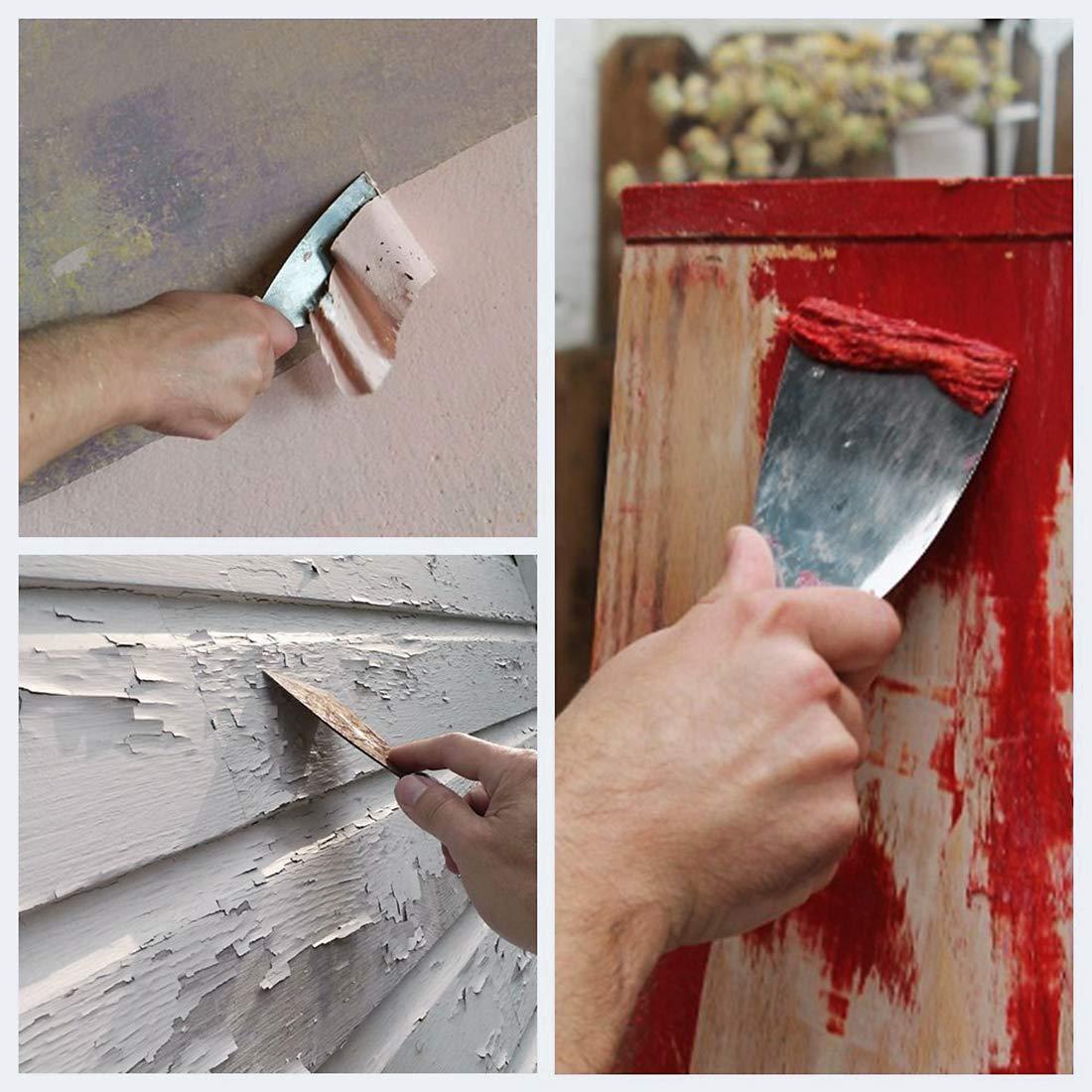 sourcing map 2x Mortero adhesiva pintura raspador de acero cuchilla flexible asa ergonómica baldosa de piso Espátulas