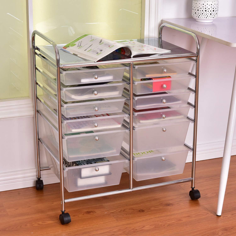 10 Drawer Makeup Organizing Self-Unit Cart Rolling Storage Scrapbook Paper Office School