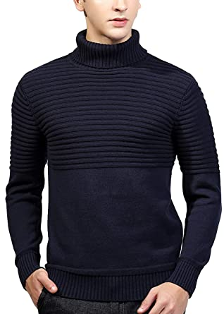 1fc37582fa8631 Men Sweater Winter Classic Fine Novelty Long Sleeve Stylish Knitted  Pullover Jumper Knitwear Dark Blue L