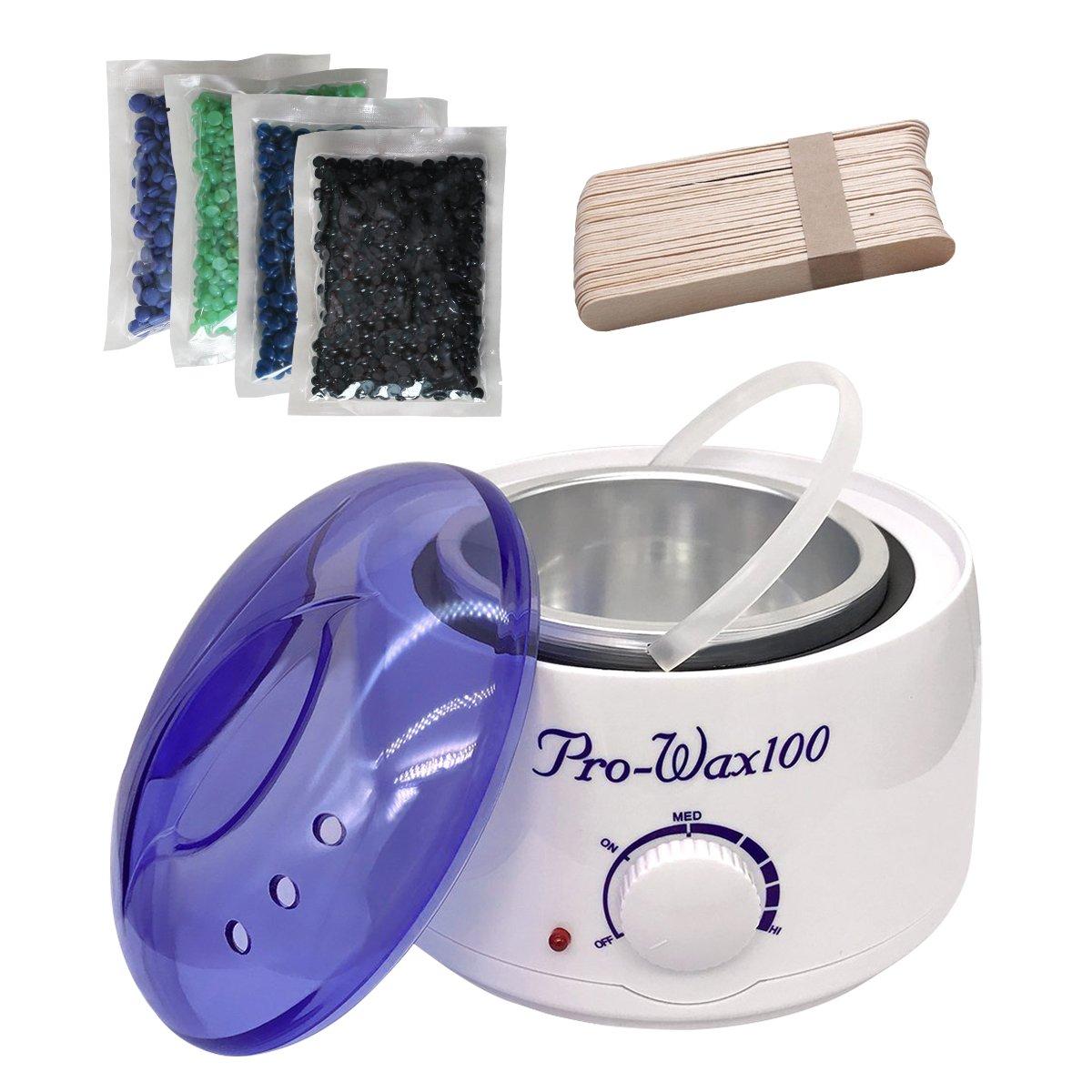 Wax for Legs, Wax Strips Wax Warmer Wax Heater Pot Hair Removal Waxing Kit for Face Legs Underarms & Bikini Hair Remover+Wax Beads 400g+30pcs Waxing Applicator Stick (400ml) (White) Breett