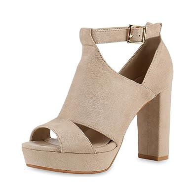 SCARPE VITA Damen Sandaletten High Heels mit Blockabsatz Plateau Vorne Cut Outs