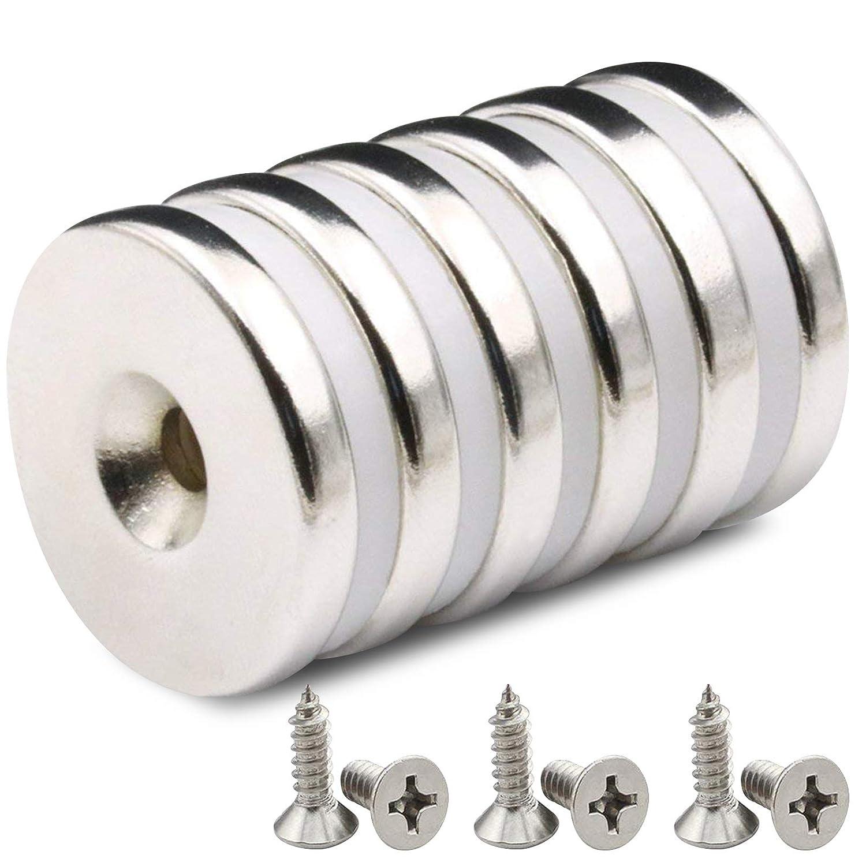 6 PACK Imán avellanado con disco de neodimio, 32 x 5 mm, fuerte, permanente, imán de tierra rara con 6 tornillos PACK para manualidades (6 pack)