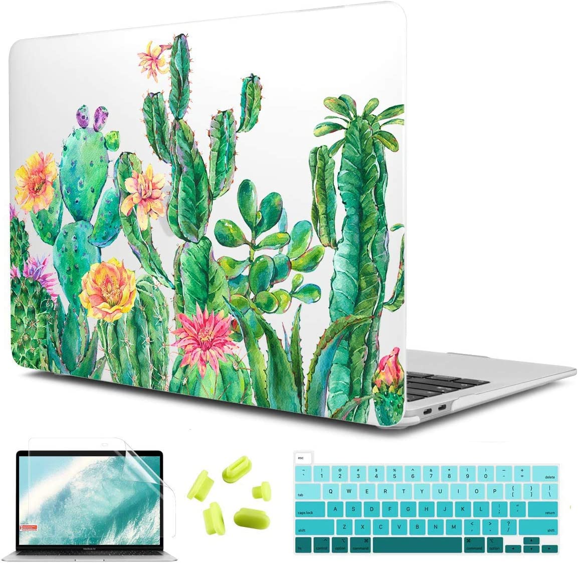"""CiSoo MacBook Pro 13 Inch Case 2020 Release A2251 A2289, Matte Clear Hard Shell Case Cactus Frosted Cover with Keyboard Cover and Screen Protector for 2020 MacBook Pro 13"""" - Cactus"""