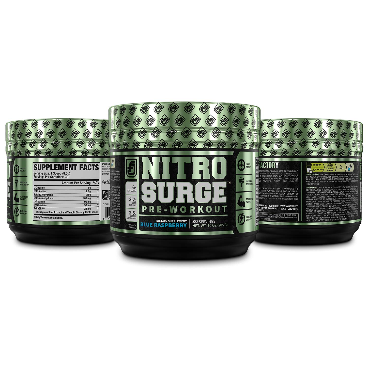 NITROSURGE Pre Workout Supplement - Endless Energy, Instant Strength Gains, Clear Focus, Intense Pumps - Nitric Oxide Booster & Powerful Preworkout Energy Powder - 30 Servings, Blue Raspberry by Jacked Factory (Image #4)