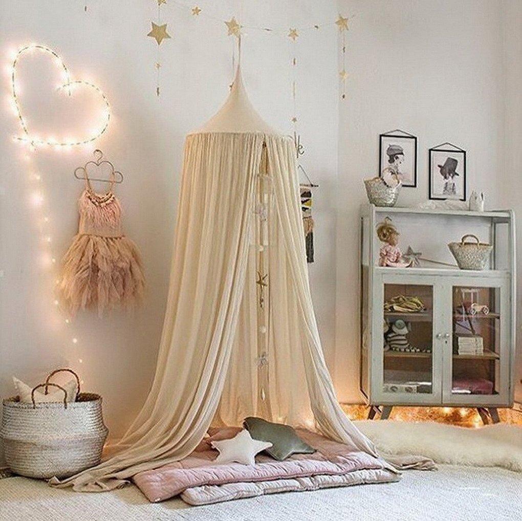 Frideko Princess Bed Canopy Vintage Children Mosquito Net Mini Baby Playing Tent for Beach Home Nursery Hotel Khaki