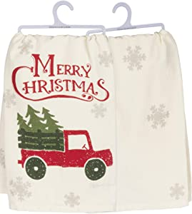 Primitives by Kathy Rustic Holiday Dish Towel, 28 x 28-Inches, Christmas Truck