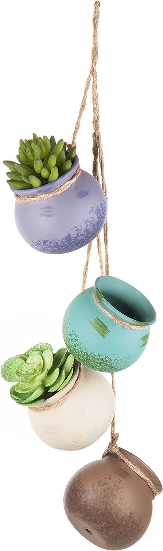 MyGift 4-Pot Hanging Rustic Pastel Ceramic Planter Set, Mini Multi-Color Succulent Pots with Jute Rope