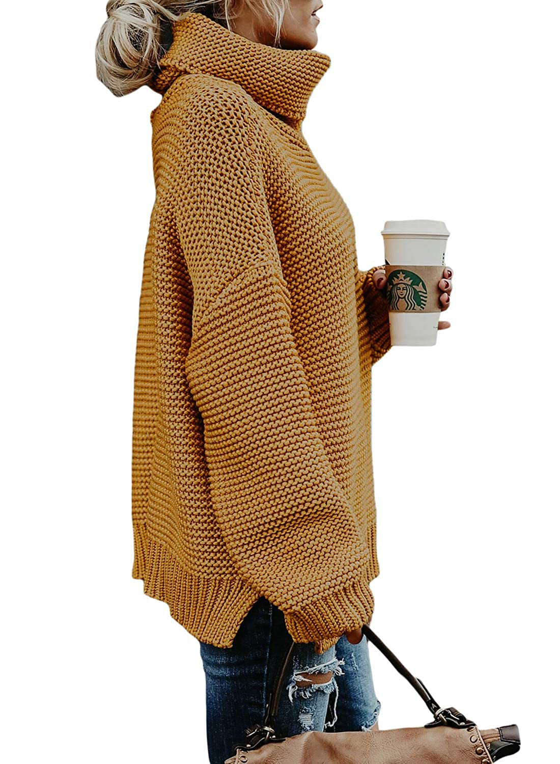 454a46a7c1 Asvivid Womens Chunky Turtle Cowl Neck Asymmetric Hem Wrap Sweater Coat  with Button Details AF27689-