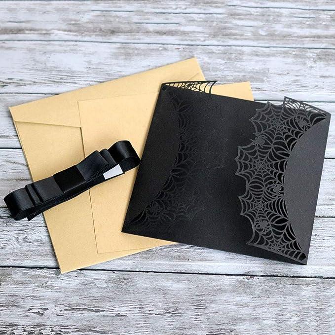 Amosfun Tarjeta de invitación de Halloween Tarjetas de diseño de Tela de araña con Bowknots Tarjetas de invitación de Fiesta de Corte láser (Negro): ...