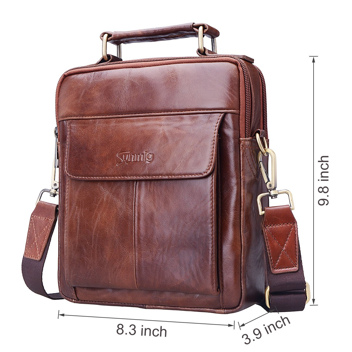 Sunmig Men's Genuine Leather Shoulder Bag Messenger Briefcase CrossBody Handbag (Brown) by Sunmig (Image #3)